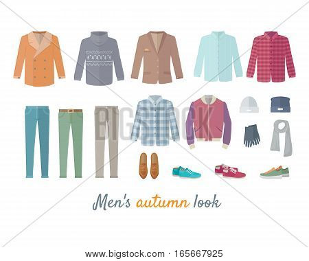 Mens autumn look apparel set. Men s clothing. Outerwear. Mens look, shoes, accessories. Autumn winter collection. Stylish fashionable clothes. Best world brands trends. Vector in flat style design