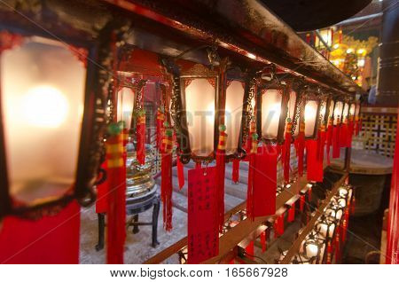 Chinese lanterns at Man Mo Temple in Hong Kong