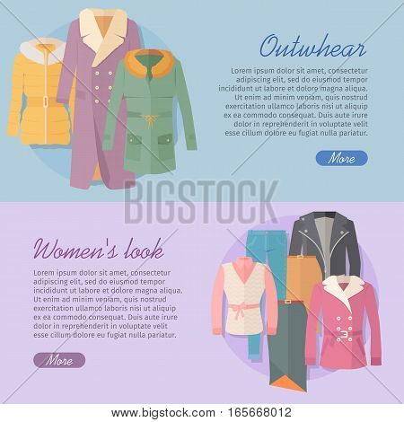 Outerwear women s look web banner. Autumn winter collection. Stylish fashionable woman coat garment from designers. Best world brands trends. New collection of outwear models. Vector illustration