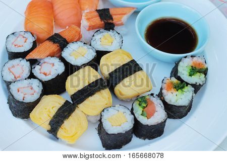Mixed roll sushi set is delicious Japanese food.