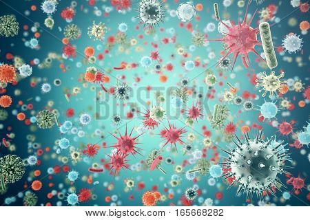 Hepatitis, H1N1, HIV, FLU, AIDS viruses abstract background 3d rendering