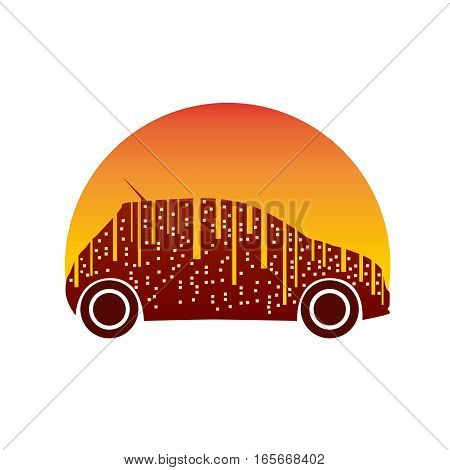 Vector sign City Car in orange, isolated illustration