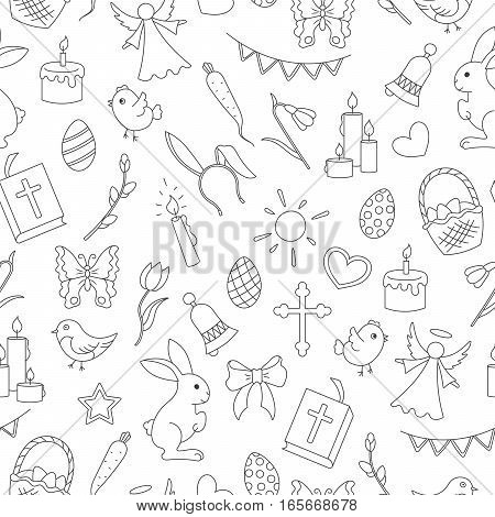 Seamless pattern with simple contour icons on a theme the holiday of Easter dark contours on white background