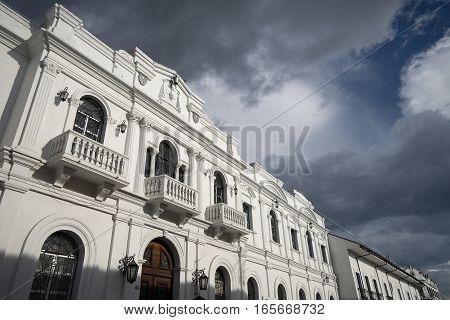 facade of a colonial bulding in Popayan Colombia