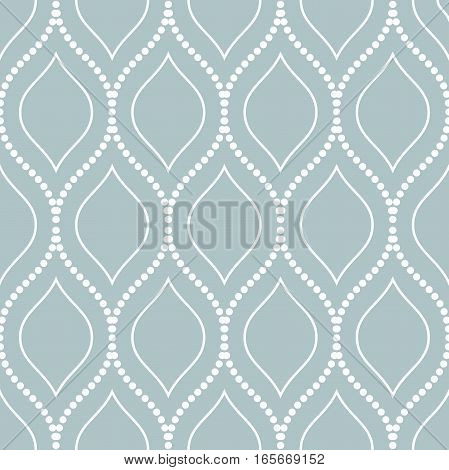 Seamless vector ornament. Modern background. Geometric pattern with repeating white dotted wavy lines