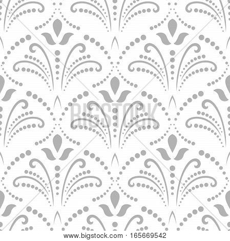 Floral vector light silver ornament. Seamless abstract classic background with flowers. Pattern with repeating elements