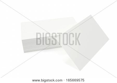Stack of blank business card on white background. 3d rendering.