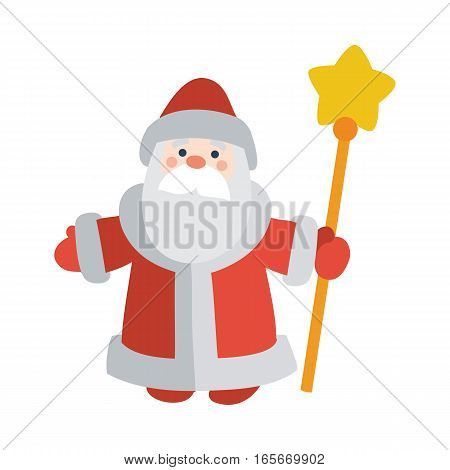 Santa Claus with stick isolated on white. Saint Nicholas, Saint Nick, Father Christmas, Kris Kringle, Santy, Father Frost wishes Merry Christmas and Happy New Year. Greeting card, invitations design poster