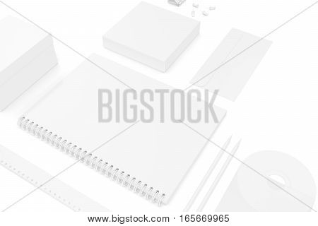 Mockup business brand template on white background. 3d rendering.