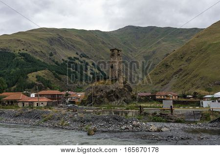 Medieval Watch Tower  In Village Sno  (sno Castle), Kazbegi Region, Georgia