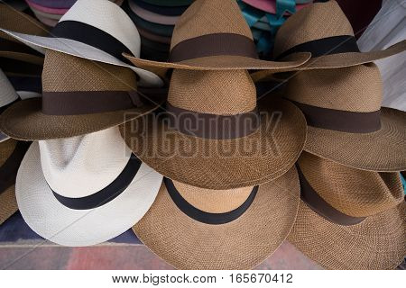 Panama hats in the artisan market in Otavalo Ecuador