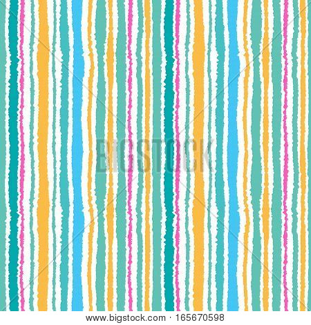 Seamless strip pattern. Vertical lines with torn paper effect. Shred edge background. Summer, warm, blue, yellow, turquoise, rose, agua, white. Sea theme. Vector illustration