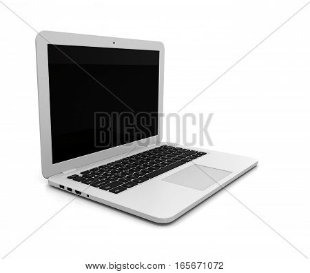Laptop Computer with Blank Black Screen on White Background 3D Illustration Side View