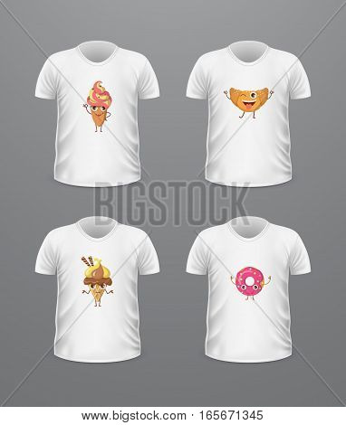 T-shirt front view with food isolated on white Realistic t-shirt vector in flat. Ice cream characters boy and girl, doughnut, croissant. Casual wear. Cotton unisex polo outfit. Fashionable apparel