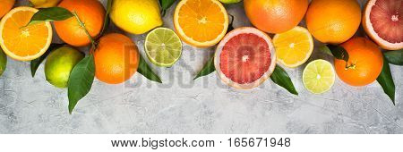 Different citrus fruit on grey concrete table. Whole and sliced fruit. Food background. Healthy eating and diet. Long banner format good for web.