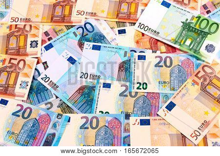 pile of euro banknotes of different values as part of the European economic and trade system