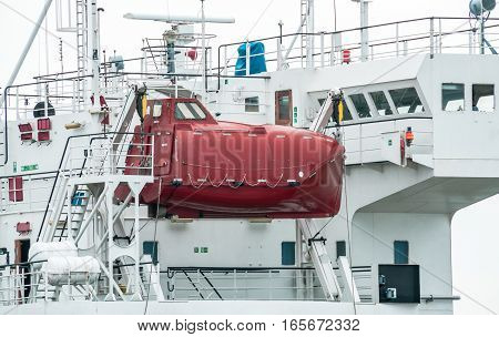 Enclosed Lifeboat for ship. transportion on sea