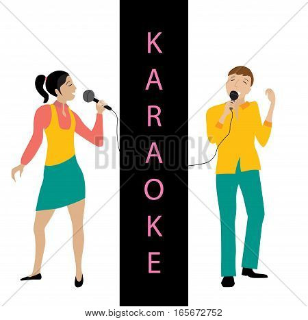Woman and man singing into microphone, Couple sing in karaoke party, flat style vector