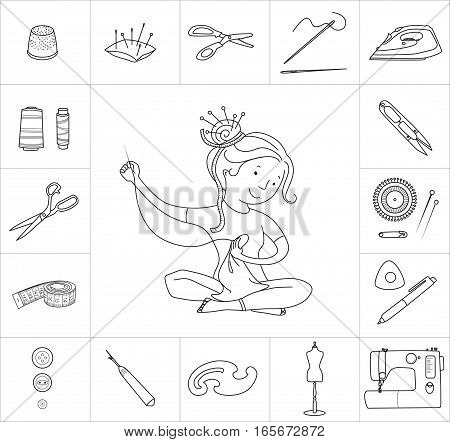 Seamstress girl and sewing or tailoring tools kit, sewing machine, fabric shears, needles and pin cushion isolated on white background, black line vector icons