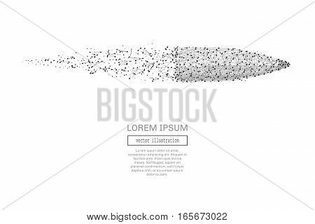 Grey bullet with polygon line on abstract background. Polygonal space low poly with connecting dots and lines. Connection structure. Vector speed concept background.