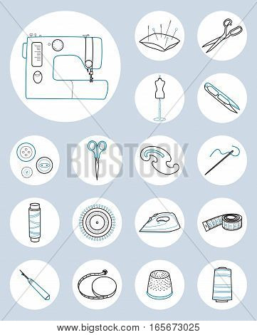 Set of sewing tools, sewing machine, threads, pins and needles, Line vector round icons