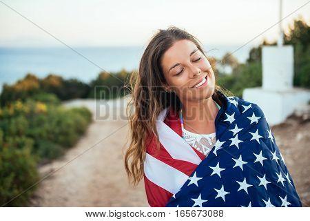 Proud Female Holding The Usa Flag!