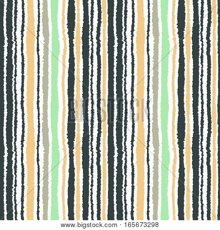 Seamless strip pattern. Vertical lines with torn paper effect. Shred edge texture. White, gray, yellow, olive winter colored background. Vector