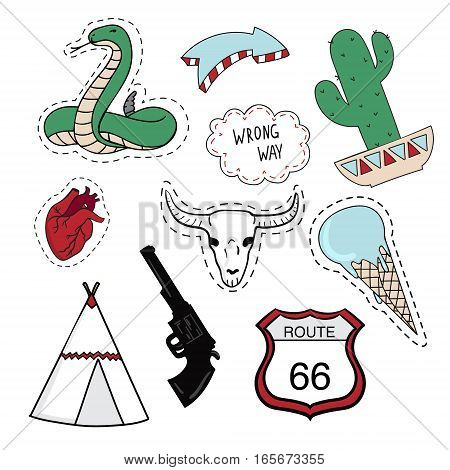 Set of stickers with heart, snake, bull skull, teepee, ice-cream, turn sign over white background. Vector illustration.