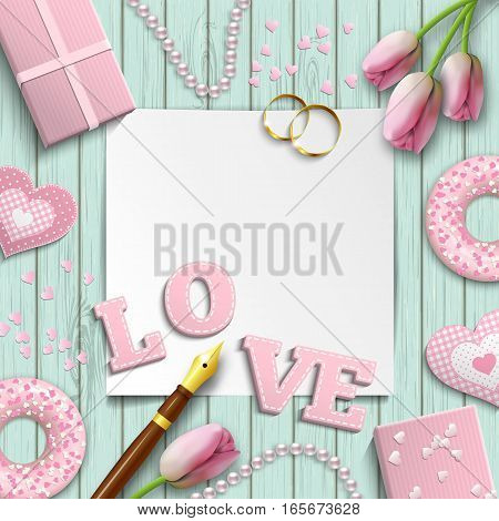 Romantic background with pink letters LOVE and other objects on blue wooden pattern, inspired by flat lay style, vector illustration, eps 10 with transparency and gradient meshes