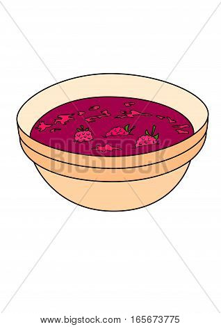 The raspberry jam in a pink bowl.