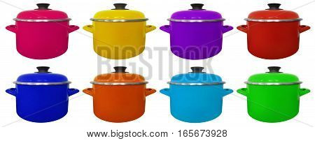 Kitchen colorful saucepans isolated on white background
