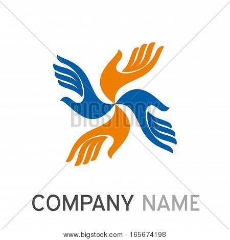 Vector sign teamwork with hands, isolated illustration