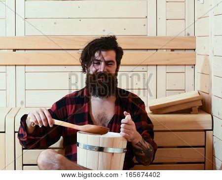 Handsome Cheerful Man In Sauna