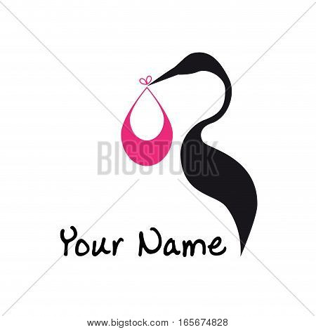 Vector sign abstract stork and baby, isolated illustration