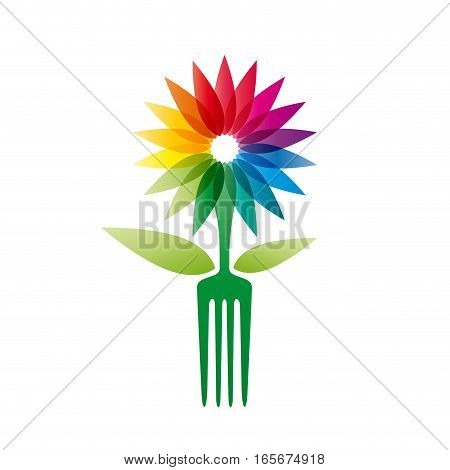 Vector sign vegan flower and fork, isolated