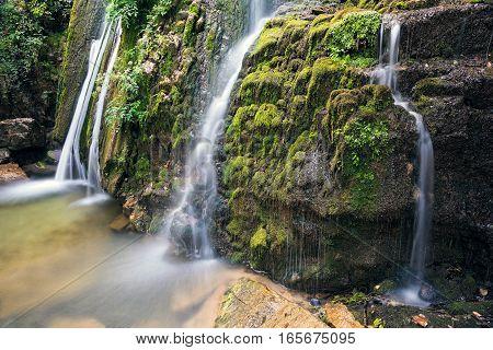 View of the Varvara waterfalls in Halkidiki, Greece