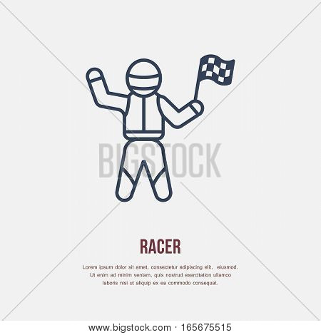 Car racer vector line icon. Speed auto championship winner with checkers flags.