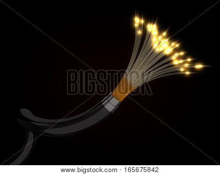 3d illustration of glowing fiber optic cable. diagonal cable.