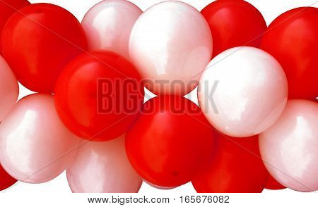 Garlands fragment consisting of inflatable red and white balls