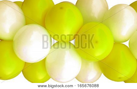Garlands fragment consisting of inflatable yellow and white balls