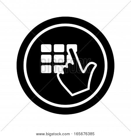 hand typing pin security or safety related icons image vector illustration design