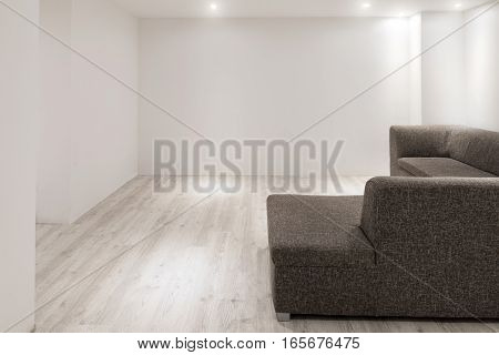 Sofa With Chaiselongue In Empty Renovated Apartment