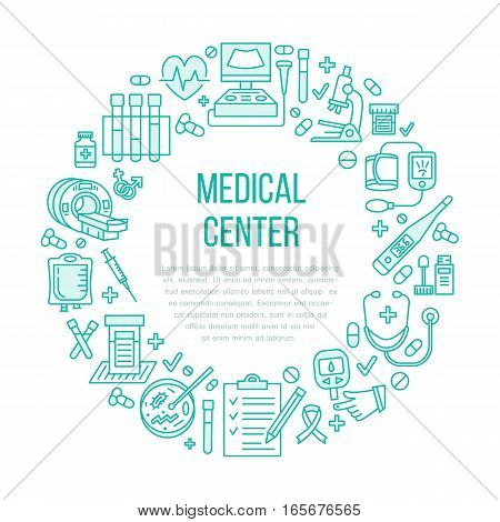Medical poster template. Vector line icon, illustration of health check up center. Equipment - mri, cardiogram, glucometer, doctor, ultrasound, blood test. Healthcare banner design.