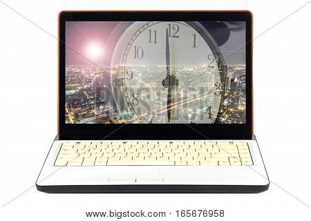 Alarm clock and laptop business on white background