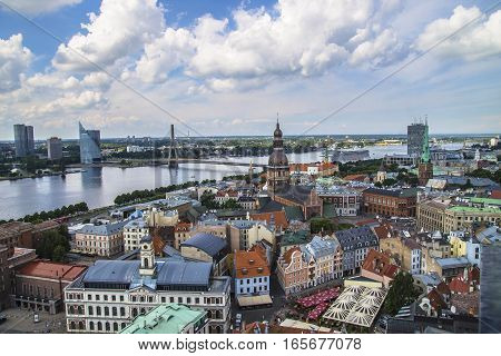 Aerial view of Riga center from St. Peter's Church Riga Latvia.
