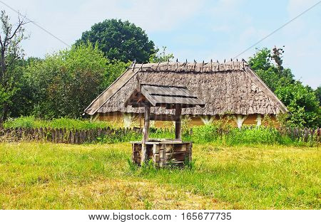 Old traditional house in Ukraine in the summer