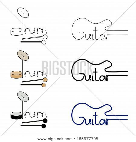 Vector set. Words guitar and drum on the white isolated