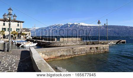 The port of Gargnano on Lake Garda in winter - Brescia - Lombardy - Italy