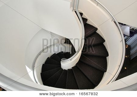 Spiral staircase in luxury home