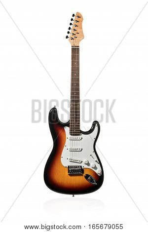 Beautiful electric guitar brown color standing upright isolated on a white background